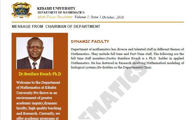 "Department of Mathematics releases ""Math Focus Newsletter"""